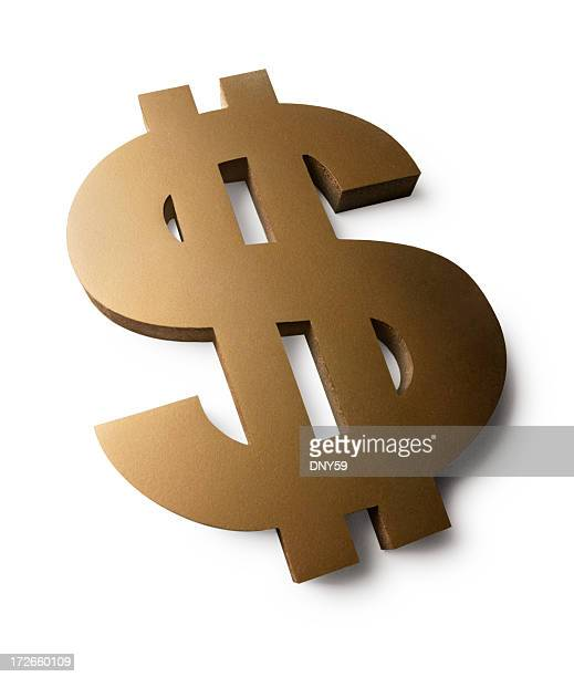 Forced perspctive view of a dollar sign