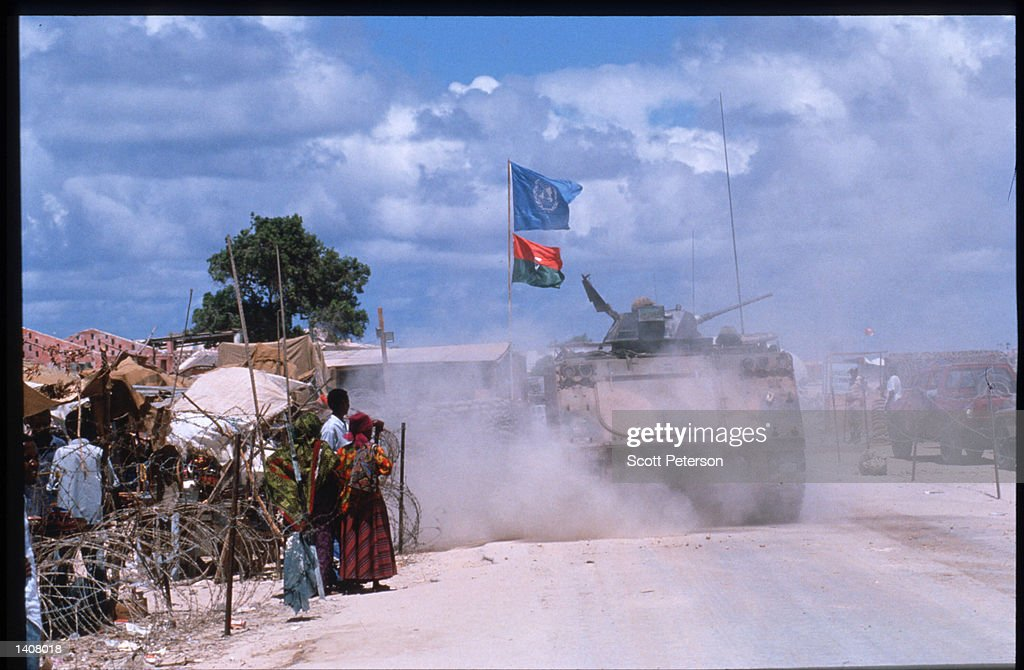 US forces depart after the hand over of power to UN peacekeeping troops May 4 1993 in Mogadishu Somalia UN troops will continue the humanitarian...