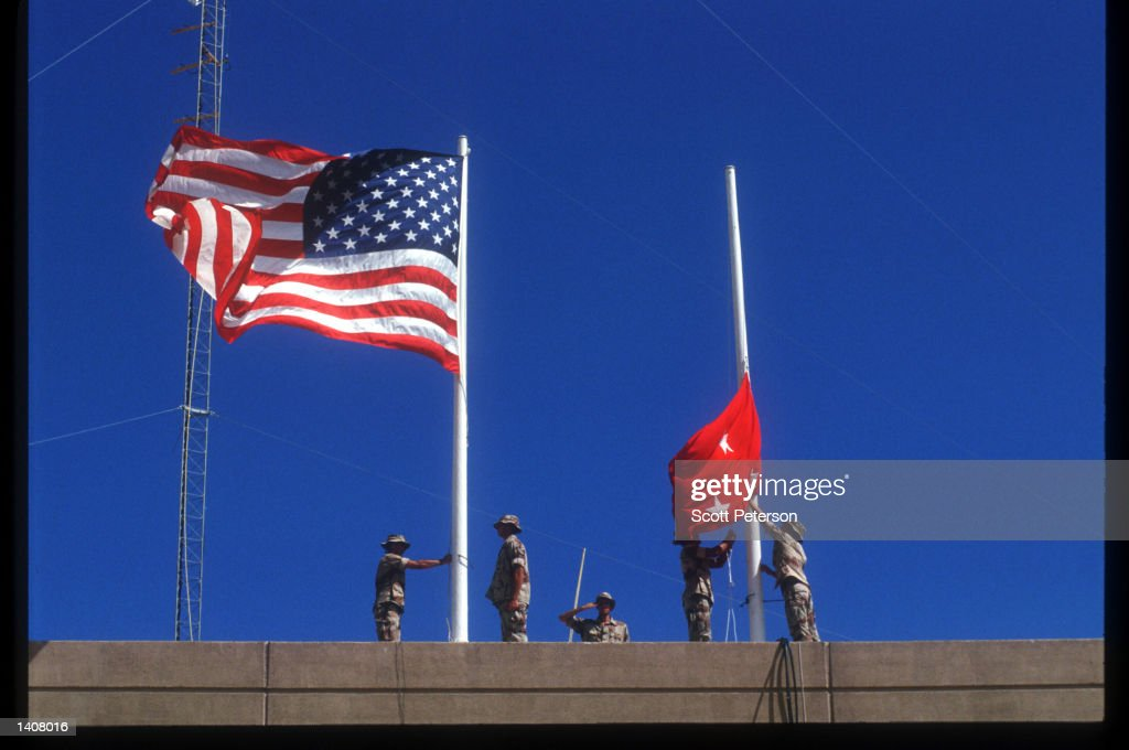 US forces hand over power to UN peacekeeping troops May 4 1993 in Mogadishu Somalia UN troops will continue the humanitarian intervention aimed at...