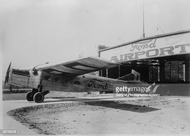 One of the four 'Maiden Dearborn' Stout 2AT Pullman allmetal monoplanes being towed into a hangar at the Ford Airport factory in Dearborn Michigan...