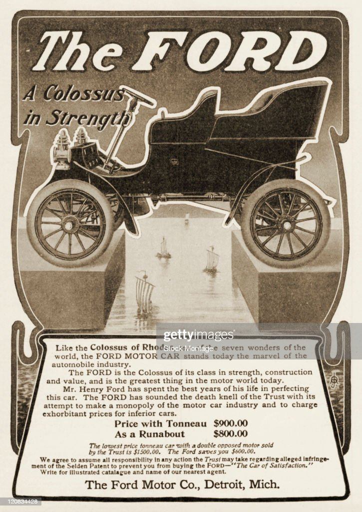 A Ford automobile is pictured in a magazine advertisement dated 1904 In referring to the ancient Colossus of Rhodes one of the seven wonders of world...