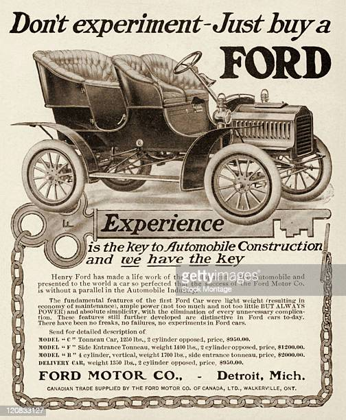 A Ford automobile is pictured in a magazine advertisement from 1905 The ad states 'Don't experiment Just buy a Ford' Prices listed in the ad for...