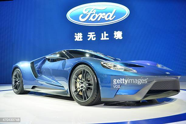 A Ford car is exhibited during the 2015 Shanghai Auto Show on April 20 2015 in Shanghai China Car brands from across the world have gathered in...