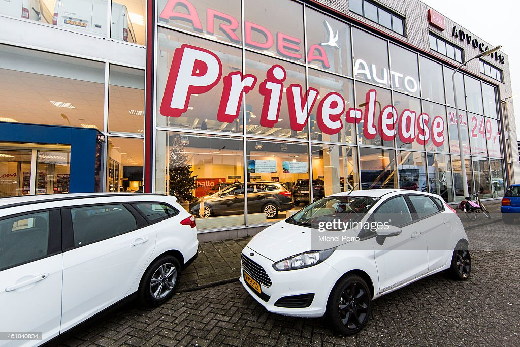 Ford car showroom promotes the sale of private lease on January 3 2015 in The Hague The Netherlands BOVAG The Dutch association of car dealers...
