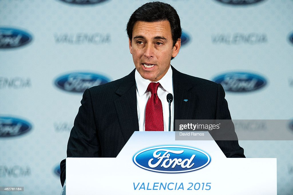 Ford CEO Mark Fields delivers a speech during his visit to the factory of Ford in Almussafes on February 5, 2015 in Valencia, Spain. The new European Commission economic forecasts predict a growth of 2.1% across the EU. Commission officials increased the 2015 forecast for Spain from 1.7% in November to a new estimate of 2,3%.