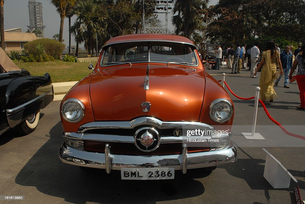 Ford Custom Deluxe Vintage car taking part in Third Cartier Travel With Style Concours D'Elegance Vintage car show at 2013 Taj Lands End on February 10, 2013 in Mumbai, India.