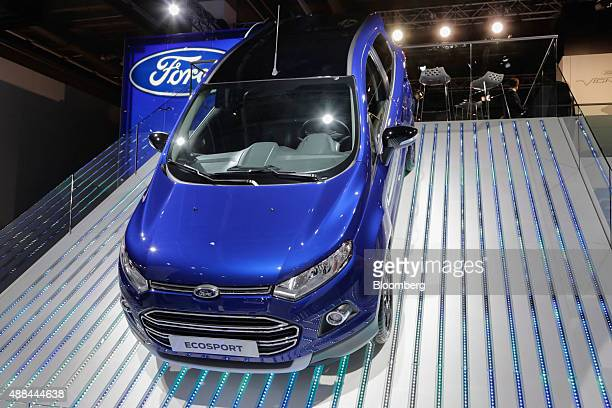 A Ford Ecosport SUV automobile manufactured by Ford Motor Co sits on a ramp at the IAA Frankfurt Motor Show in Frankfurt Germany on Tuesday Sept 15...
