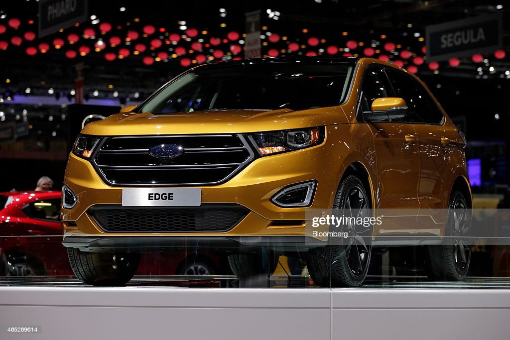 A Ford Edge SUV automobile produced by Ford Motor Co stands on display on day two of the 85th Geneva International Motor Show in Geneva Switzerland...