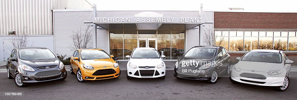 Ford electric hybrid and plugin hybrid vehicles are didplasyed at the Michigan Assembly Plant November 8 2012 in Wayne Michigan The plant is the only...