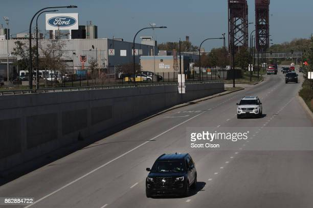 Ford Explorers leave Ford's Chicago Assembly Plant on October 18 2017 in Chicago Illinois Responding to consumer concerns about exhaust fumes The...