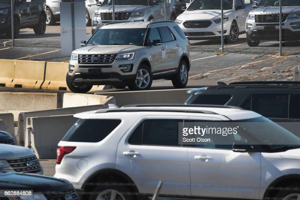 Ford Explorers leave the assembly line at Ford's Chicago Assembly Plant on October 18 2017 in Chicago Illinois Responding to consumer concerns about...