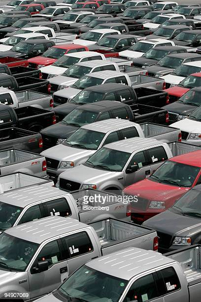 Ford F150 pickup trucks are parked outside of Ford Motor Co Dearborn Assembly Plant in Dearborn Michigan on Monday July 20 2004 Sales at US retailers...