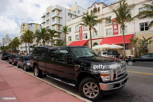 Ford F350 Super Duty SUV pickup truck in Ocean Drive Miami South Beach Florida USA