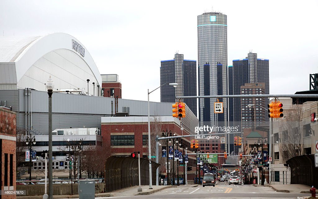 Ford Field and the General Motors world headquarters are shown downtown December 10 2014 in Detroit Michigan Today Michigan Governor Rick Snyder...