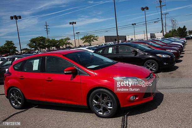 Ford Focus sits for sale at Bill Brown Ford Dealership on September 6 2013 in Livonia Michigan US auto giants had a good summer In August Ford had...