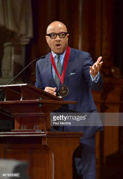 Ford Foundation President Darren Walker was one of eight recipients of the 2017 WEB DuBois Medal at Harvard University's Sanders Theatre on October 4...