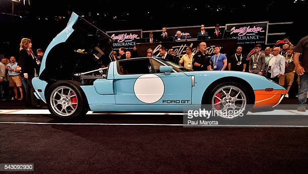 Ford GT Heritage Edition is auctioned at the at the BarrettJackson Inaugural Northeast Auction at Mohegan Sun Arena on June 25 2016 in Uncasville...