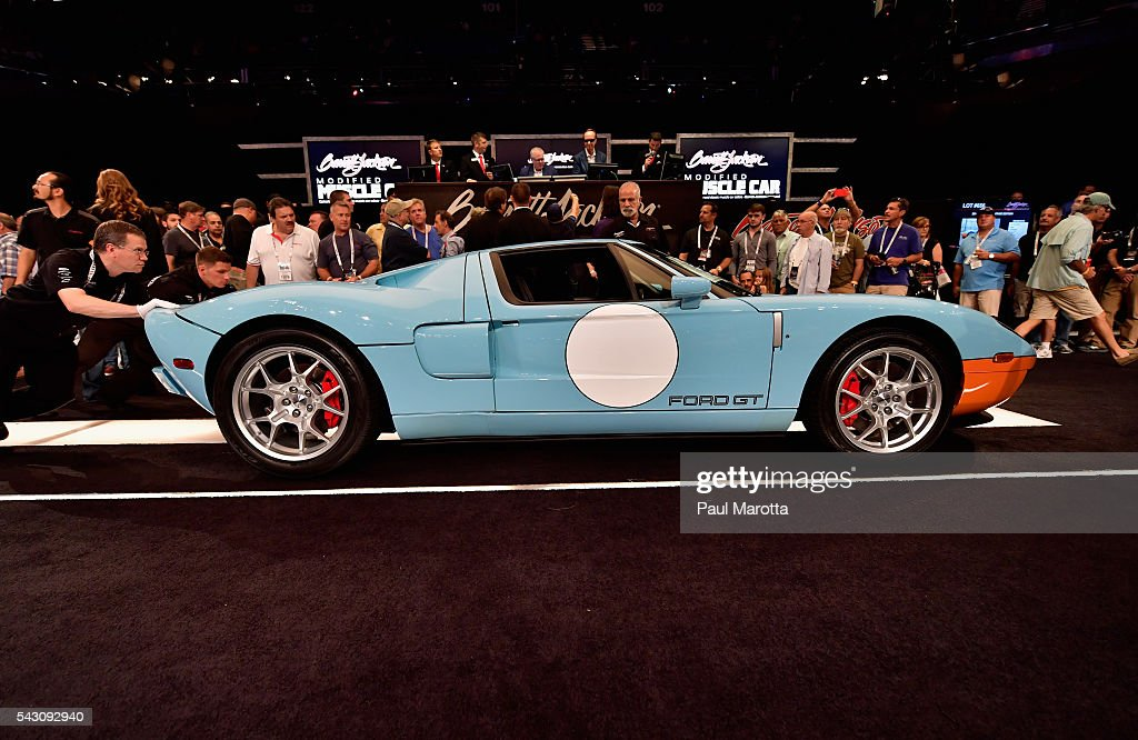 Ford GT Heritage Edition is auctioned at the at the Barrett-Jackson Inaugural Northeast Auction at Mohegan Sun Arena on June 25, 2016 in Uncasville, Connecticut. Organizers estimated app. 70,000 vistors attended the three day auction June 23-25 during which hundreds of collectors were sold at auction.