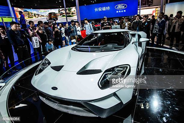 Ford GT is being displayed at the Beijing International Automotive Exhibition in Beijing China on April 27 2016