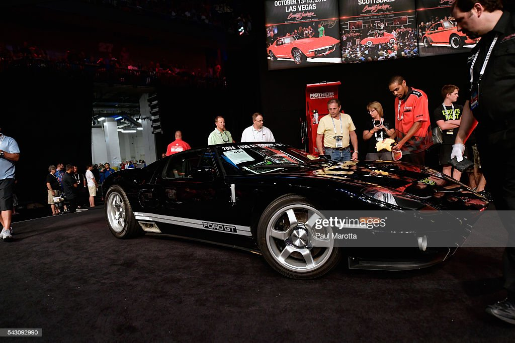 Ford GT Protoype VIN #004 is auctioned at the Barrett-Jackson Inaugural Northeast Auction at Mohegan Sun Arena on June 25, 2016 in Uncasville, Connecticut. Organizers estimated app. 70,000 vistors attended the three day auction June 23-25 during which hundreds of collectors were sold at auction.