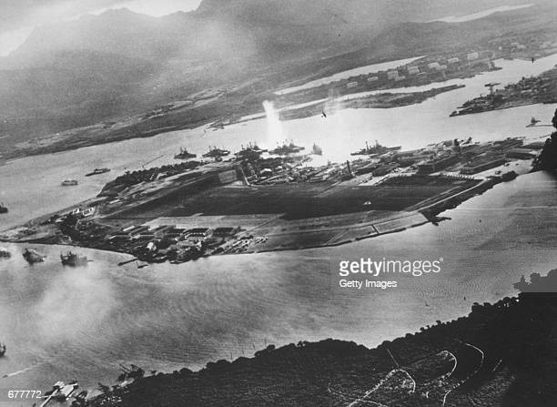 Ford Island is seen in this aeriel view during the Japanese attack on Pearl harbor December 7 1941 in Hawaii The photo was taken from a Japanese...