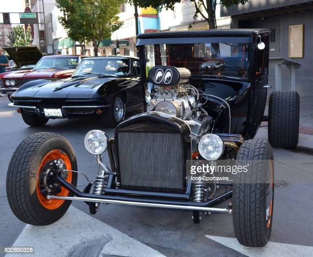 Ford ModelT Bucket with large chromed V8 engine on display at the Hot August Nights Custom Car Show the largest nostalgic car show in the world on...
