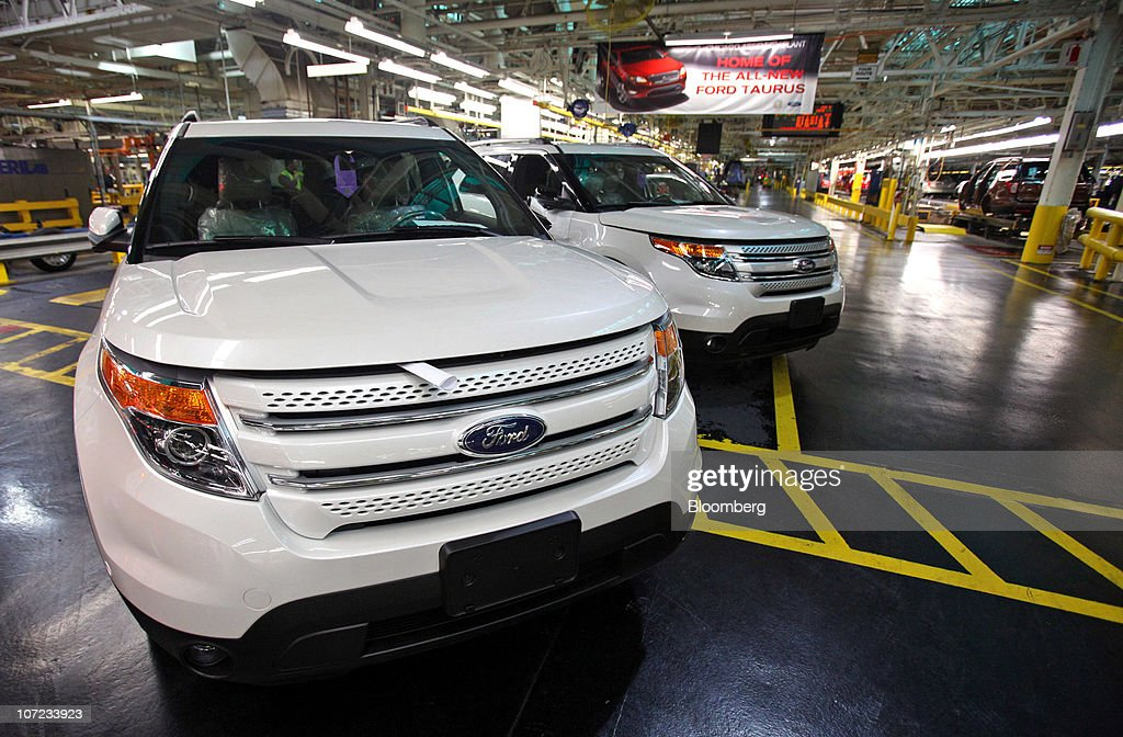 Ford Motor Co Explorers Stand After Coming Off The Assembly Line At A Plant In Chicago