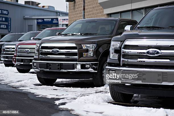 Ford Motor Co F150 trucks are displayed for sale at Uftring Ford car dealership in East Peoria Illinois US on Monday March 2 2015 Domestic and total...