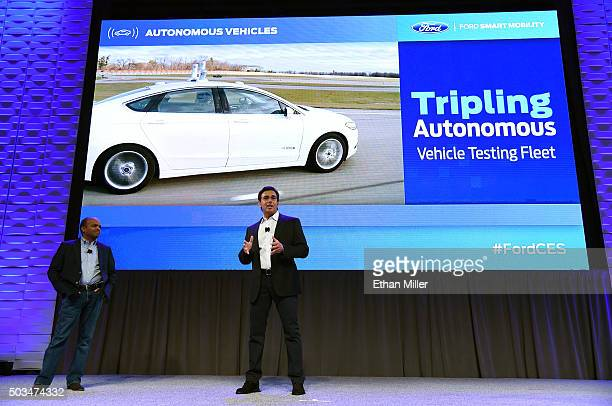 Ford Motor Co Group Executive Vice President Product Development and Chief Technical Officer Raj Nair and President and CEO of Ford Motor Co Mark...