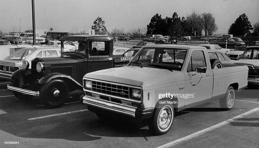 FEB 25 1982, FEB 26 1982, FEB 27 1982; Ford Motor Co. has introduced its new Ranger pickup, shown here with an ancestor, a 1932 Ford Model B pickup owned by Tony and Dolores Stantagelo of Denver.;