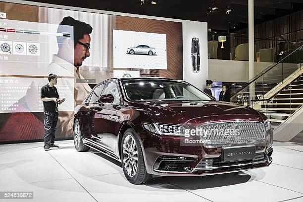 A Ford Motor Co Lincoln Continental vehicle stands on display at the Beijing International Automotive Exhibition in Beijing China on Tuesday April 26...