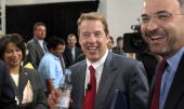 Ford Motor Company Chairman and CEO Bill Ford chats with employees after addressing them at a Town Hall meeting September 21 2005 at Ford's Science...