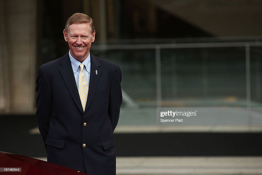 Ford Motor Company President and CEO <a gi-track='captionPersonalityLinkClicked' href=/galleries/search?phrase=Alan+Mulally+-+Businessman&family=editorial&specificpeople=226958 ng-click='$event.stopPropagation()'>Alan Mulally</a> talks to media while standing beside a new Lincoln Motor Company MKZ sedan at a media launch in front of Avery Fisher Hall, Lincoln Center Plaza on December 3, 2012 in New York City. Ford is renaming its Lincoln division as the Lincoln Motor Co., as it looks to revive the luxury brand. The MKZ will arrive at dealerships later this month and will start at $35,925. The MKZ is the first of seven new Lincoln's that will go on sale by 2015.