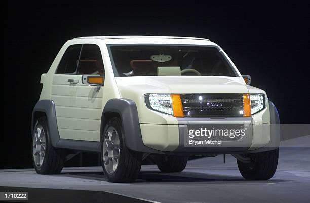 Ford Motor Company shows off the Model U concept car during a press conference at the North America International Auto Show January 5 2003 in Detroit...