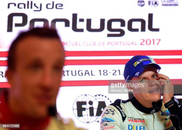 Ford MSport's WRC Estonian pilot Ott Tanak looks on during a press conference in Matosinhos on May 18 on the eve of the start of Portugal WRC Rally /...