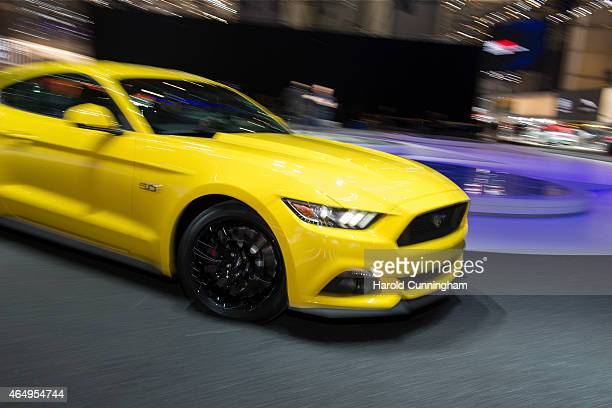 Ford Mustang is displayed at the Geneva International Motor Show on March 2 2015 in Geneva Switzerland The 85th International Motor Show held from...