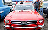 A Ford Mustang is on display at Pomona's antique automobile market on August 16 2009 Once a month collectors and enthusiasts can sell and buy cars or...