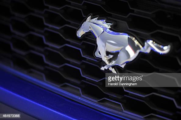 Ford Mustang logo is displayed at the Geneva International Motor Show on March 2 2015 in Geneva Switzerland The 85th International Motor Show held...