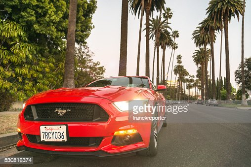 Ford Mustang parked on Beverly Hills - LA