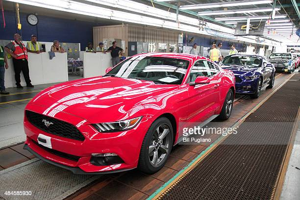 Ford Mustangs go through assembly at the Ford Flat Rock Assembly Plant August 20 2015 in Flat Rock Michigan Ford is debuting its new Mustang Shelby...