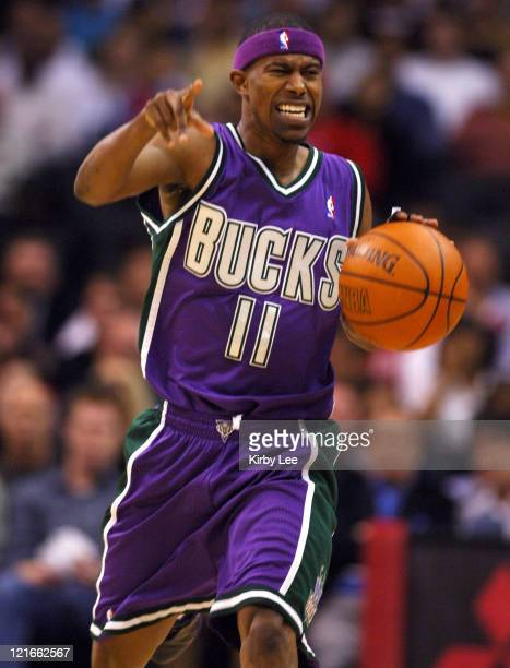 TJ Ford of the Milwaukee Bucks dribbles upcourt during 10985 loss to the Los Angeles Clippers in NBA game at the Staples Center in Los Angeles Calif...