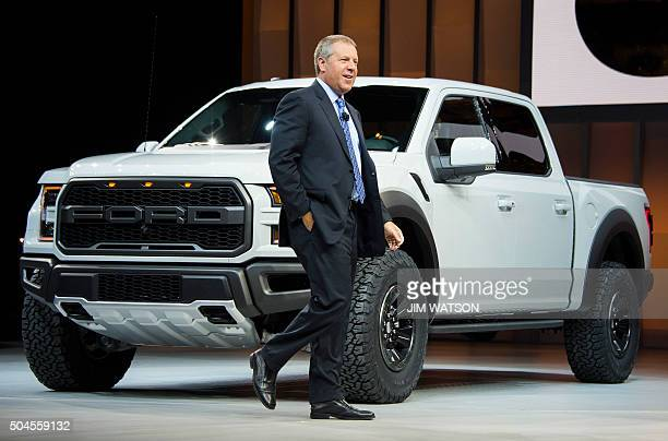 Ford President of the Americas Joe Hinrichs introduces the Ford F150 Raptor during the Ford press conference at the North American International Auto...