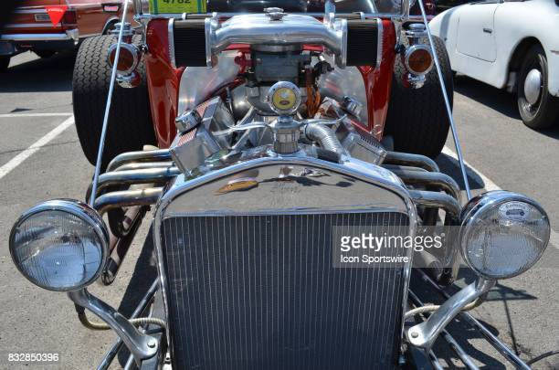 Ford TBucket with chromed radiator custom V8 engine on display at the Hot August Nights Custom Car Show the largest nostalgic car show in the world...