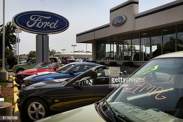 Ford vehicles sit on the lot of a newcar dealership July 1 2008 in Glenview Illinois Ford Motor Co said it sales fell nearly 28 percent in June