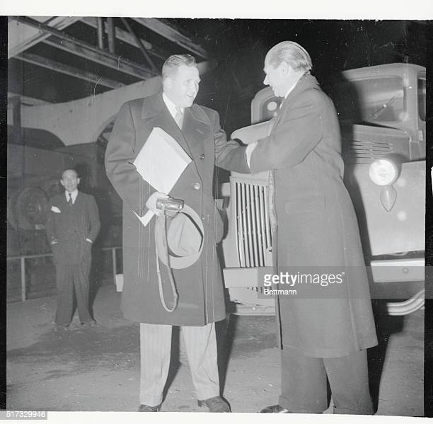 Ford visits factory in CologneCologne Germany Henry Ford II congratulates Erhard Vietger manager of the Ford organization in Germany as the 10000th...