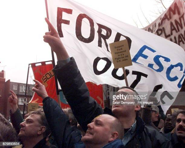 Ford workers from the Halewood plant on Merseyside demonstrate outside a meeting in central London between management and union negotiators The plant...