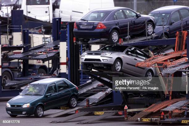 Ford workers loading cars onto car transporters at Dagenham Essex The last car came off the production line at the plant which has produced almost 11...