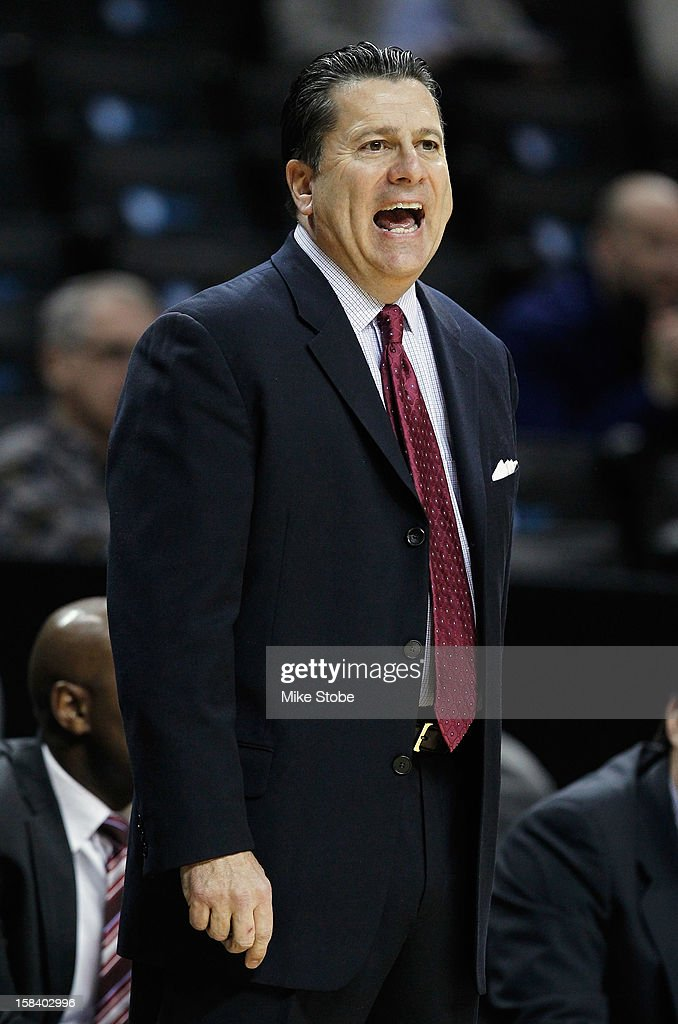 Fordham Rams head coach Tom Pecora calls out from the sidelines against the Princeton Tigers during the Brooklyn Hoops Winter Festival on December 15, 2012 at Barclays Center in the Brooklyn borough of New York City. Fordham Rams defeated the Princeton Tigers 63-60.