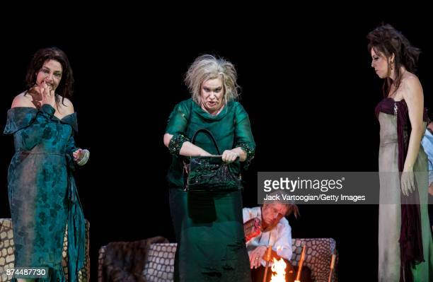 Fore from left British mezzosopranos Christine Rice and Alice Coote and American soprano Audrey Luna perform at the final dress rehearsal prior to...