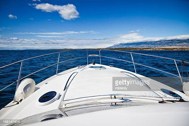 Foredeck of modern yacht